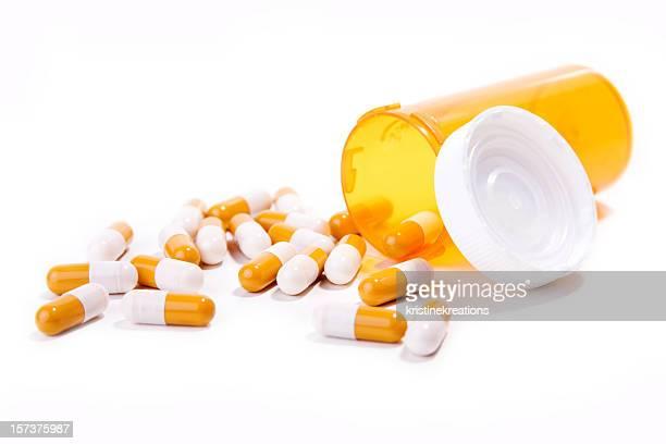 Pilules Orange et blanc avec bouteille et Couvercle