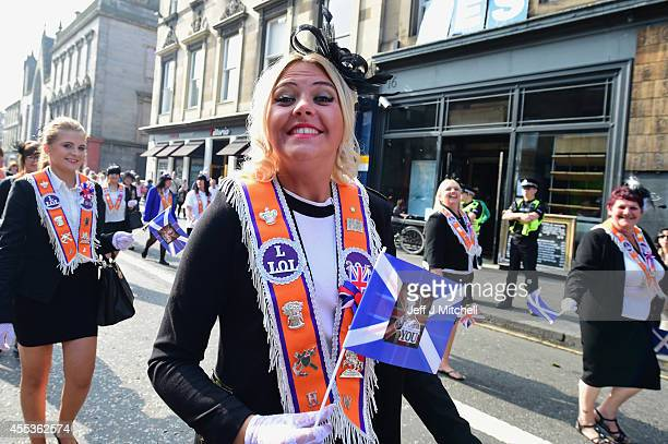 Orangewomen march during a pro union parade less than a week before voters go to the polls in a yes or no referendum on whether Scotland should...