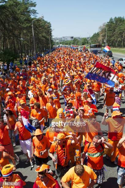 Oranje Orange march before the UEFA EURO 2012 match between Netherlands and Germany at the Metalist Stadium on June 13 2012 in Kharkov Ukraine