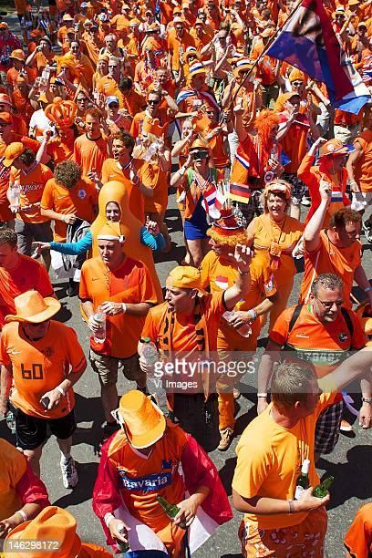 Oranje Orange mars march before the UEFA EURO 2012 match between Netherlands and Germany at the Metalist Stadium on June 13 2012 in Kharkov Ukraine