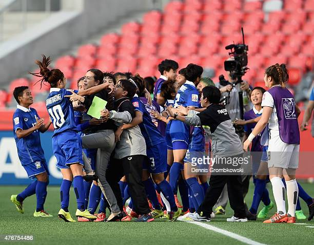 Orathai Srimanee of Thailand celebrates with team mates as she scores the second goal during the FIFA Women's World Cup Canada 2015 Group B match...