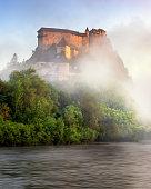 Oravsky Hrad and Orava River in the Morning Mist, Slovakia
