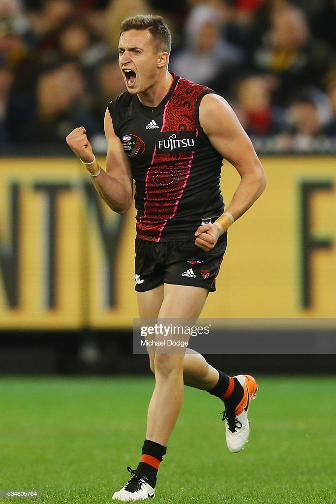 Orazio Fantasia of the Bombers celebrates a goal during the round 10 AFL match between the Essendon Bombers and the Richmond Tigers at Melbourne Cricket Ground on May 28, 2016 in Melbourne, Australia.