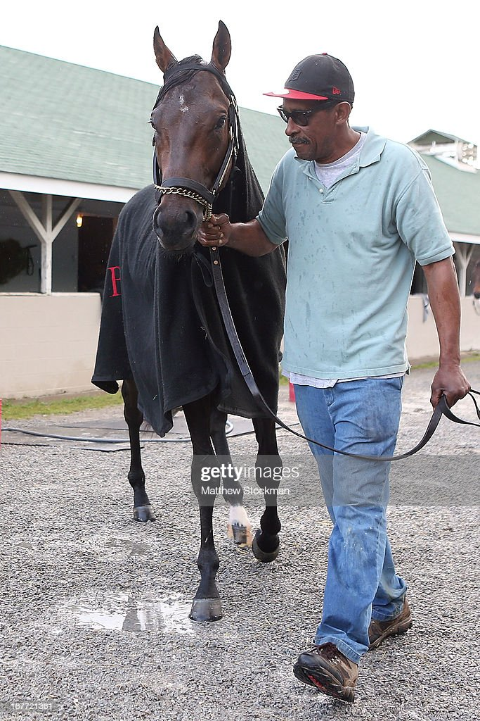 Orb is lead back to the stable by Julio Gondola after being bathed during the morning excercise session in preparation for the 139th Kentucky Derby at Churchill Downs on April 28, 2013 in Louisville, Kentucky.