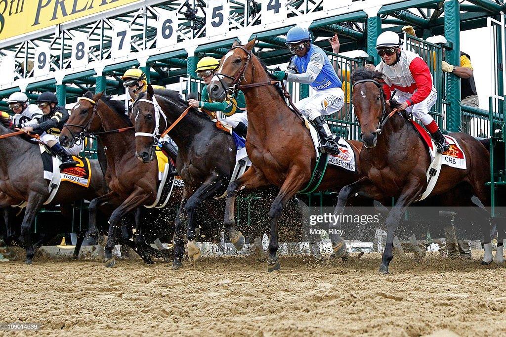 Orb #1, ridden by <a gi-track='captionPersonalityLinkClicked' href=/galleries/search?phrase=Joel+Rosario&family=editorial&specificpeople=6495860 ng-click='$event.stopPropagation()'>Joel Rosario</a>, breaks the gate to start the 138th running of the Preakness Stakes at Pimlico Race Course on May 18, 2013 in Baltimore, Maryland.