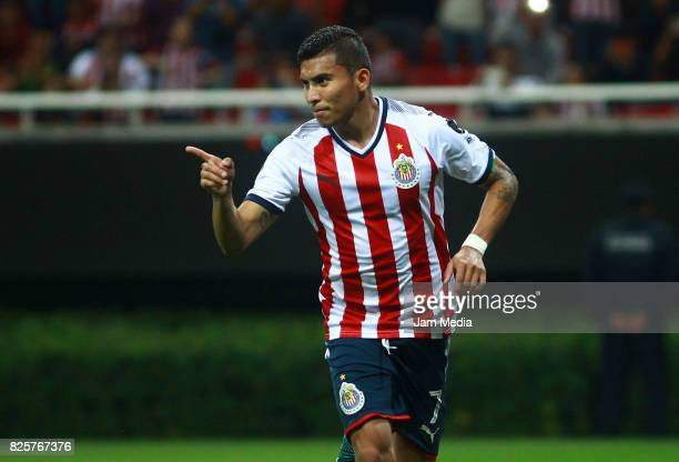 Orbelin Pineda of Chivas celebrates after scoring the fourth goal for his team during the second round match between Chivas and FC Juarez as part of...