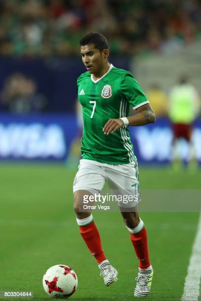 Orbelin Pineda of Mexico drives the ball during the friendly match between Mexico and Ghana at NRG Stadium on June 28 2017 in Houston Texas