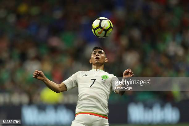 Orbelin Pineda of Mexico heads the ball during a Group C match between Mexico and Curacao as part of CONCACAF Gold Cup 2017 at the Alamodome on July...