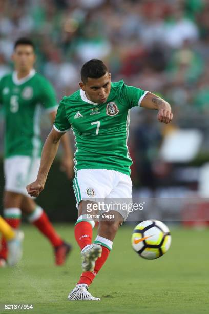 Orbelin Pineda of Mexico takes a shot during a match between Mexico and Jamaica as part of CONCACAF Gold Cup Semifinal at Rose Bowl Stadium on July...