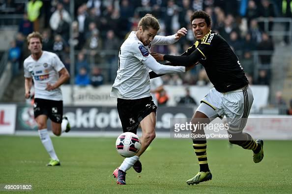 Orberos number 16 Daniel Nordmark and AIKs number 18 Noah Sonko Sundberg during the match between Orebro SK and AIK at Behrn Arena on October 31 2015...