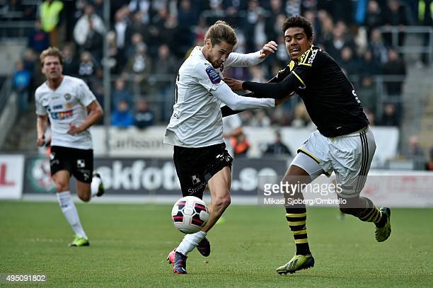 Orberos number 16 Daniel Nordmark and AIKs number 18 Noah Sonko Sundberg during the match between Orebro SK and AIK at Behrn Arena on October 31 2015...