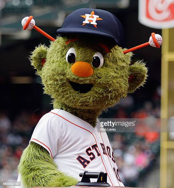 Orbit mascot for the Houston Astros during opening day ceremonies at Minute Maid Park on April 1 2014 in Houston Texas