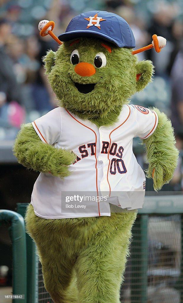 Orbit the Houston Astros mascot at Minute Maid Park on April 20 2013 in Houston Texas