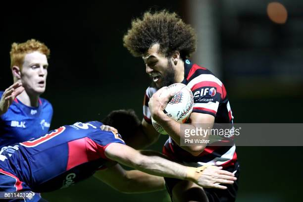 Orbyn Leger of Counties is tackle during the round nine Mitre 10 Cup match between Counties Manukau and Tasman at ECOLight Stadium on October 14 2017...