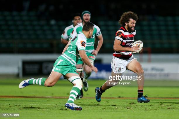 Orbyn Leger of Counties Manukau makes a break during the round eight Mitre 10 Cup match between Manawatu and Counties Manukau at Central Energy Trust...