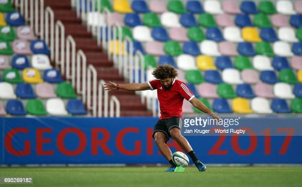 Orbyn Leger of New Zealand takes part in kicking practise during the captain's run at Mikheil Meskhi Stadium on June 12 2017 in Tbilisi Georgia
