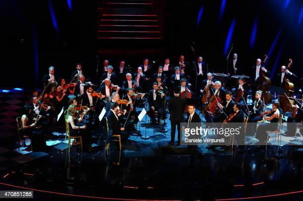 Orchestra Filarmonica del Teatro La Fenice attend opening night of the 64th Festival di Sanremo 2014 at Teatro Ariston on February 20 2014 in Sanremo...