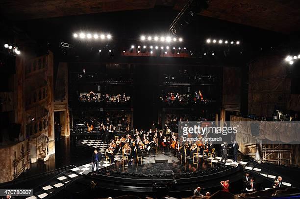 Orchestra Filarmonica del Teatro La Fenice attend the third night of the 64th Festival di Sanremo 2014 at Teatro Ariston on February 20 2014 in...