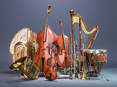 Orchestra musical instruments on grey background. 3d render