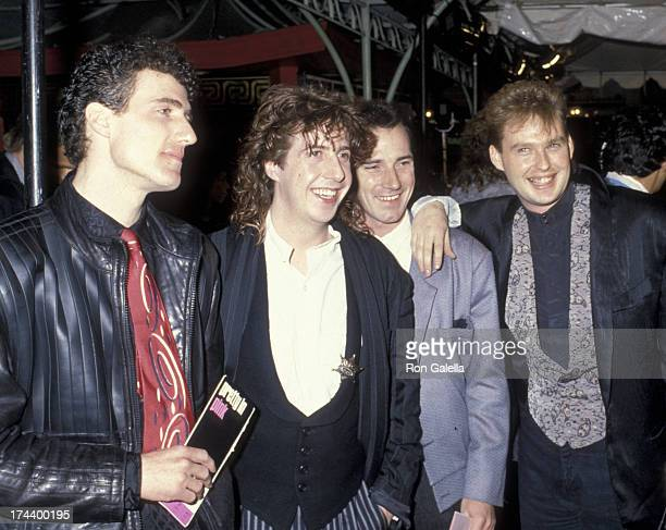 Orchestral Manoeuvres in the Dark attend the premiere of 'Pretty In Pink' on January 29 1986 at Mann National Theater in Hollywood California