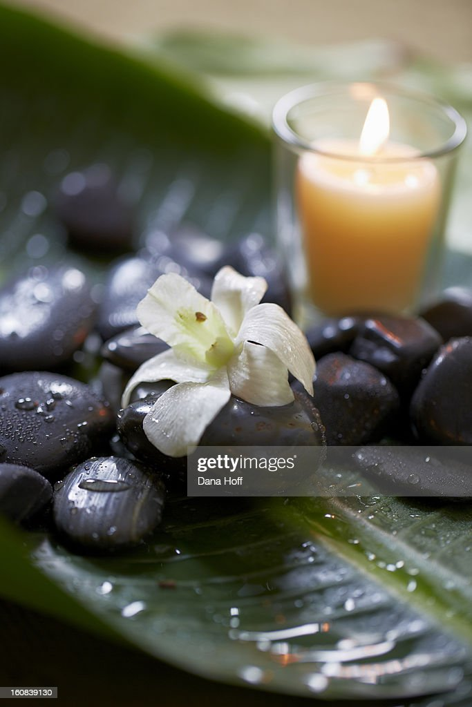 orchids on massage stones with candle in zen atmos : Stock Photo