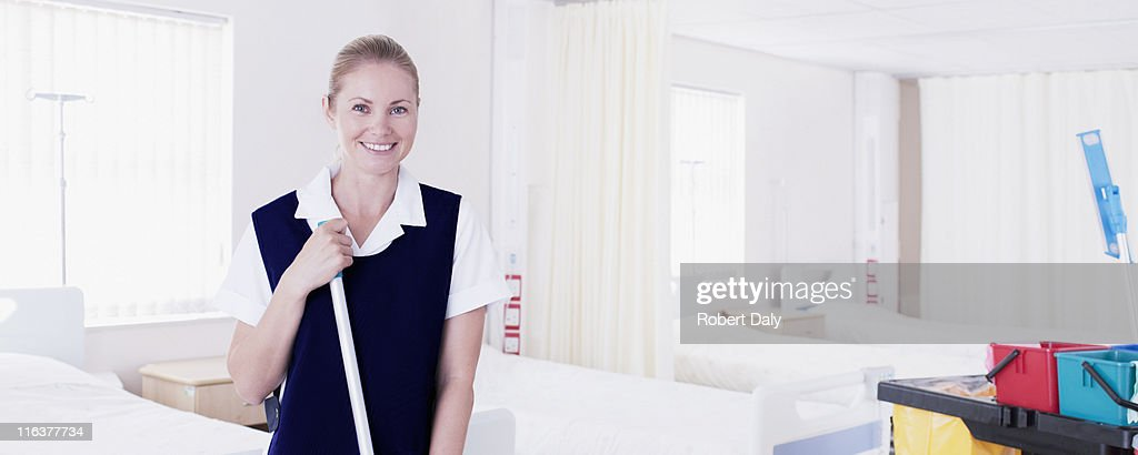 Orderly cleaning hospital : Stock Photo