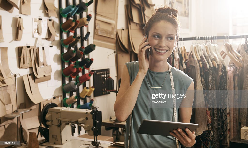 Orders come in and she gets them right out! : Stock Photo