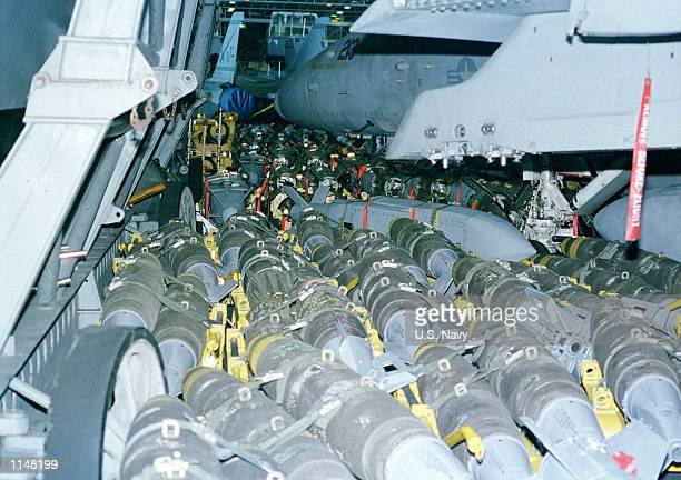 Ordnance fills the hangar bay of the USS Enterprise awaiting use in the third wave of air strikes against Iraq Enterprise is currently deployed to...