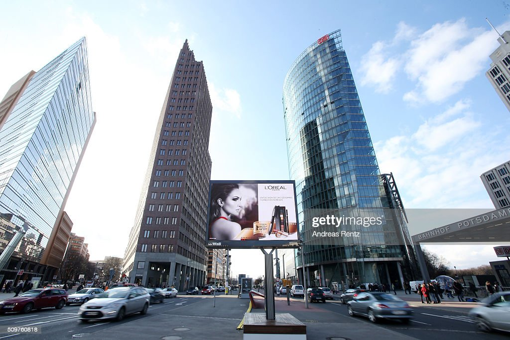L'Oreal advertisements at Potsdamer Platz during the 66th Berlinale International Film Festival Berlin at on February 12, 2016 in Berlin, Germany.