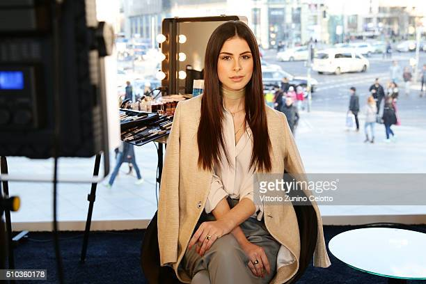 Oreal ambassador Lena MeyerLandrut is seen during the 66th Berlinale International Film Festival Berlin at Cocobello styling studio on February 13...