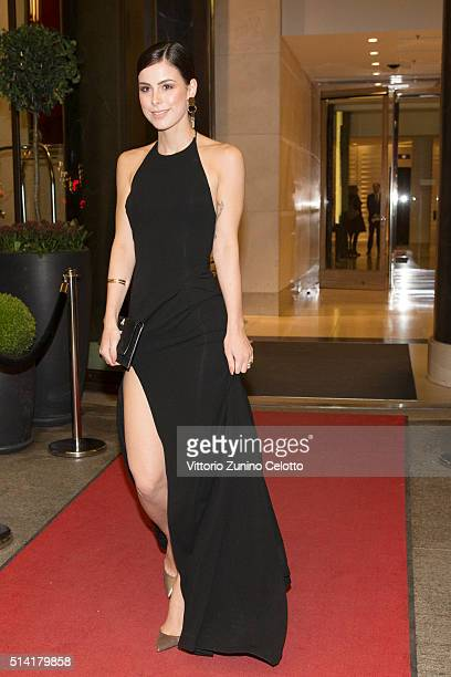 Oreal ambassador Lena MeyerLandrut is seen during the 66th Berlinale International Film Festival Berlin at Waldorf Astoria on February 13 2016 in...