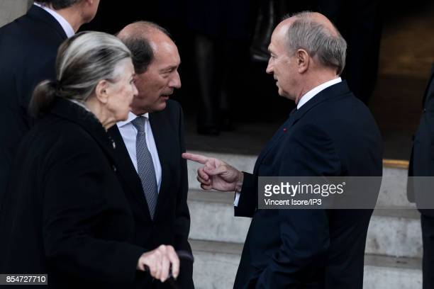 Oreal CEO Jean Paul Agon and Nestle General Manager Paul Bulcke attend the Liliane Bettencourt's funeral organized at the Saint Pierre Church on...