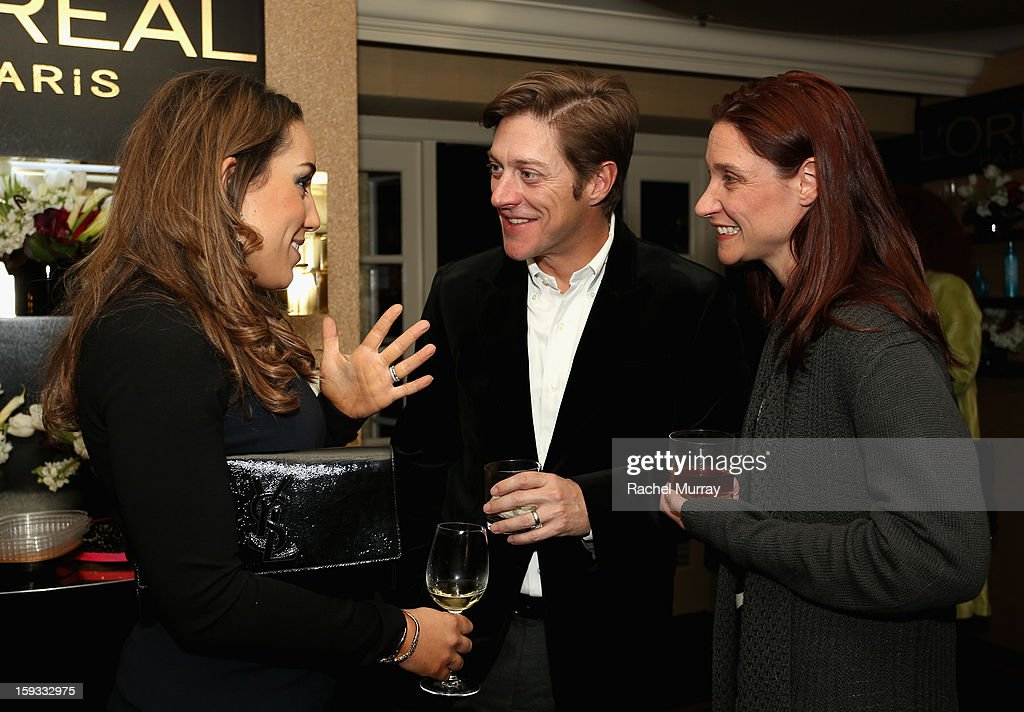 L'Oreal Executive Danielle Weingarten, actor Kevin Rahm and Amy Lonkar attend the L'Oreal cocktail party prior to the HBO Luxury Lounge at Four Seasons Hotel Los Angeles at Beverly Hills on January 11, 2013 in Beverly Hills, California.
