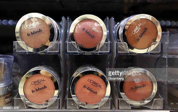 L'Oreal Le Blush ladies blusher manufactured by L'Oreal SA sit displayed for sale inside a pharmacy in London UK on Tuesday Feb 11 2014 L'Oreal the...