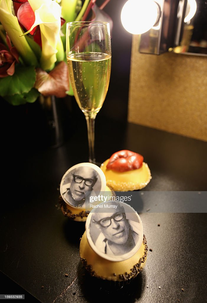 L'Oreal Paris Consulting Make-up Artist Billy B. face is seen on cupcakes at the L'Oreal cocktail party prior to the HBO Luxury Lounge at Four Seasons Hotel Los Angeles at Beverly Hills on January 11, 2013 in Beverly Hills, California.
