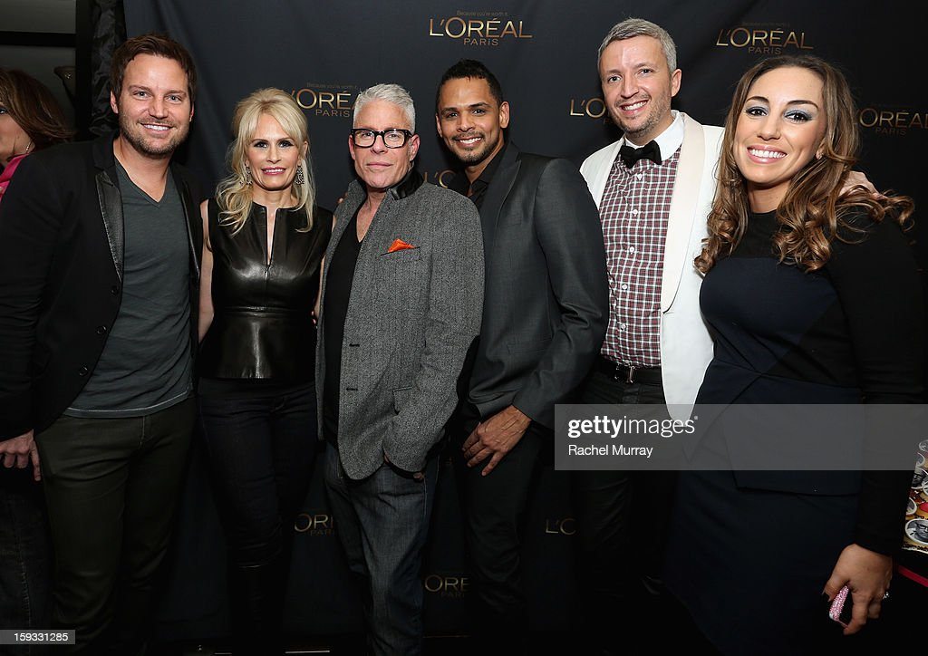 L'Oreal Paris Consulting Nail Expert Tom Bachik, L'Oreal Paris Executive Lisa Capparelli, L'Oreal Paris Consulting Make-up Artist Billy B., L'Oreal Paris Consulting hairstylist Johnny Lavoy, L'Oreal Executive Steven Waldberg and L'Oreal Executive Danielle Weingarten attend the L'Oreal cocktail party prior to the HBO Luxury Lounge at Four Seasons Hotel Los Angeles at Beverly Hills on January 11, 2013 in Beverly Hills, California.