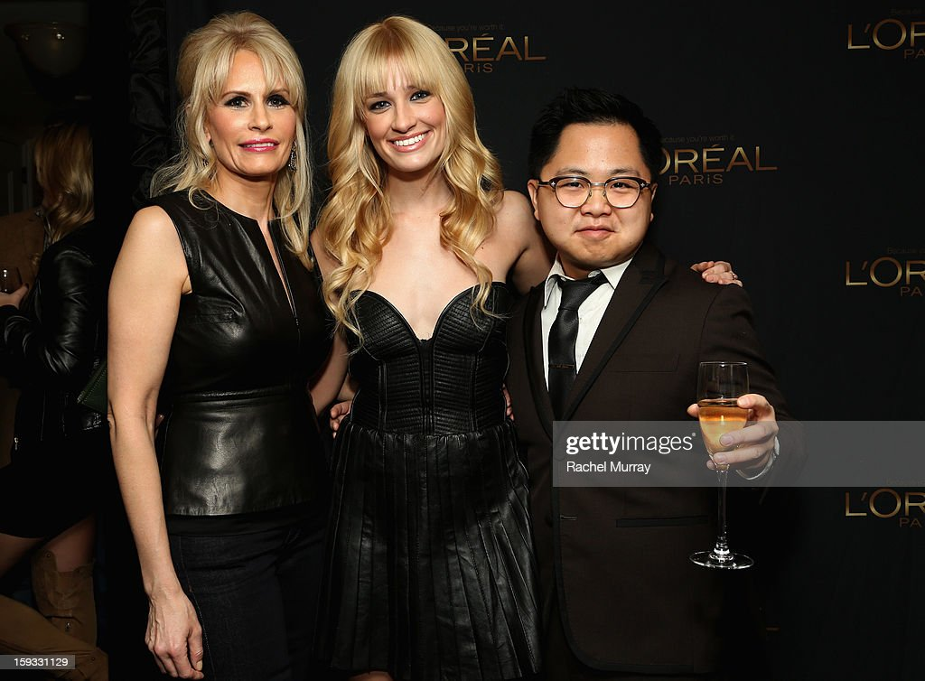 L'Oreal Paris Executive Lisa Capparelli, actress <a gi-track='captionPersonalityLinkClicked' href=/galleries/search?phrase=Beth+Behrs&family=editorial&specificpeople=6556378 ng-click='$event.stopPropagation()'>Beth Behrs</a> and actor Matthew Moy attend the L'Oreal cocktail party prior to the HBO Luxury Lounge at Four Seasons Hotel Los Angeles at Beverly Hills on January 11, 2013 in Beverly Hills, California.