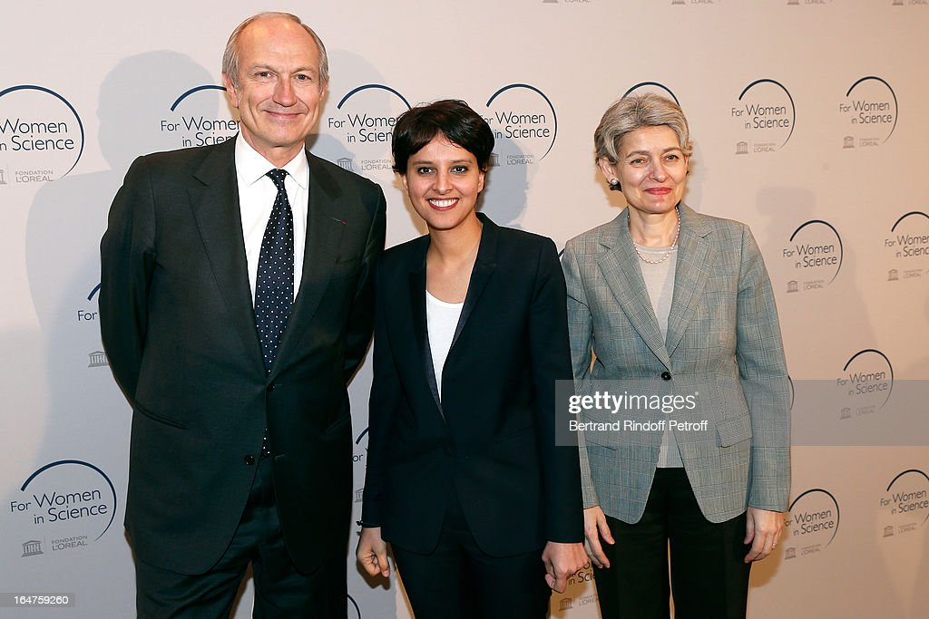 L'Oreal President Jean-Paul Agon, French Minister of Women's Rights <a gi-track='captionPersonalityLinkClicked' href=/galleries/search?phrase=Najat+Vallaud-Belkacem&family=editorial&specificpeople=4115928 ng-click='$event.stopPropagation()'>Najat Vallaud-Belkacem</a> and UNESCO General Director <a gi-track='captionPersonalityLinkClicked' href=/galleries/search?phrase=Irina+Bokova&family=editorial&specificpeople=6324408 ng-click='$event.stopPropagation()'>Irina Bokova</a> attend Party At Pavillon Gabriel for the 15th anniversary of 'L'Oreal-UNESCO Awards For Women In Science' on March 27, 2013 in Paris, France.