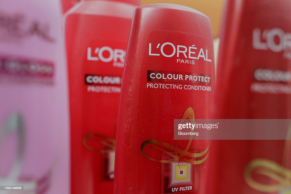 L'Oreal SA Color Protecting conditioner is arranged for a photograph at the company's first research and innovation center in Mumbai, India, on Thursday, Jan. 10, 2013. L'Oreal SA, the world's largest cosmetics maker, today inaugurated its new Indian R&I center. Photographer: Dhiraj Singh/Bloomberg via Getty Images