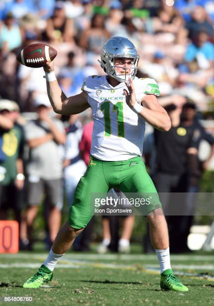 Oregon Braxton Burmeiser drops back for a pass during a college football game between the Oregon Ducks and the UCLA Bruins on October 21 2017 at the...