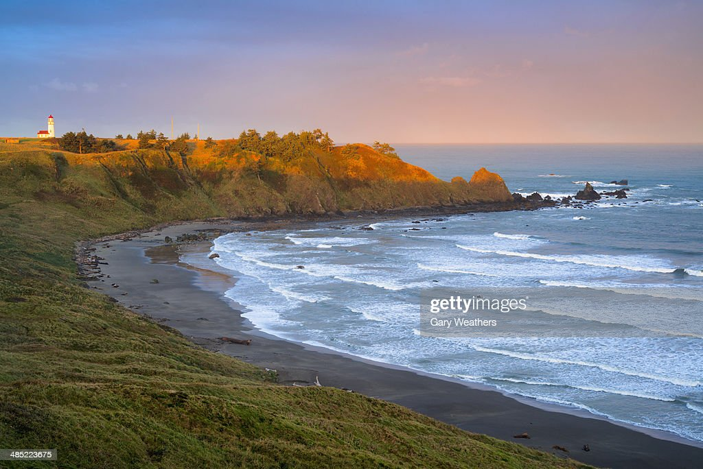 USA, Oregon, Cape Blanco, Landscape with lighthouse in distance