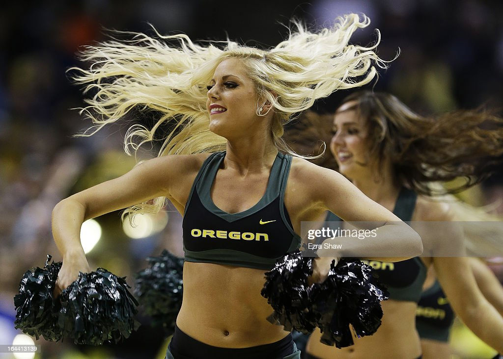 Oregon Ducks cheerleaders perform in the first half against the Saint Louis Billikens during the third round of the 2013 NCAA Men's Basketball Tournament at HP Pavilion on March 23, 2013 in San Jose, California.