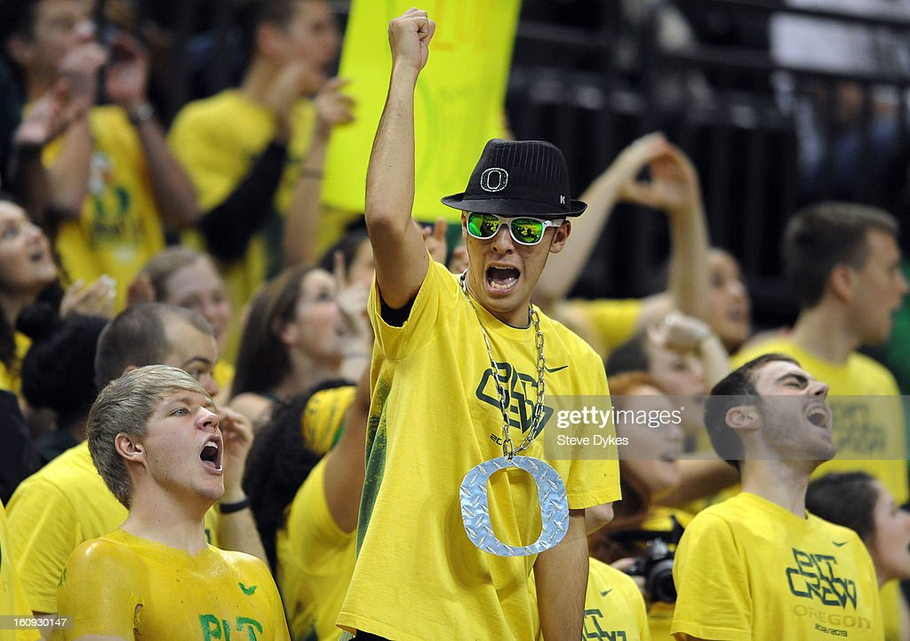 Oregon Ducks fans cheer during the second half of the game against the Colorado Buffaloes at Matthew Knight Arena on February 7, 2013 in Eugene, Oregon. Colorado won the game 48-47.
