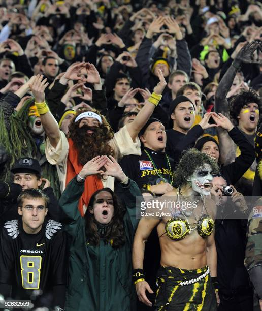 Oregon Ducks fans make some noise on a Halloween night game against the USC Trojans at Autzen Stadium on October 31 2009 in Eugene Oregon The crowd...
