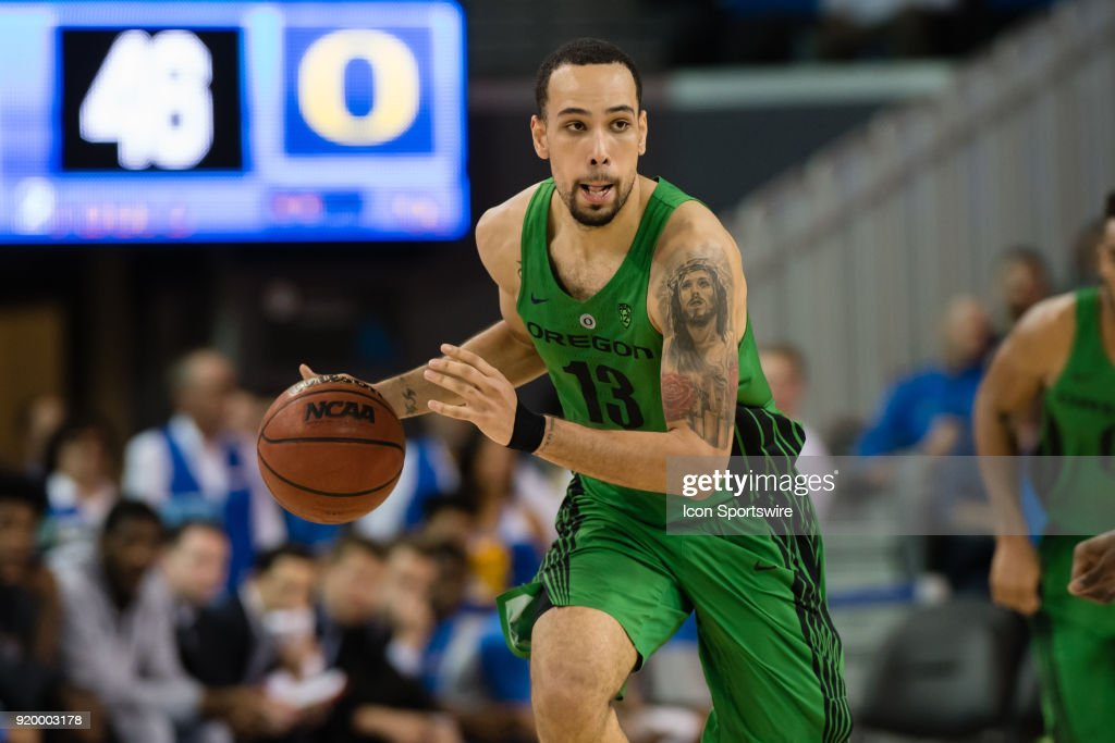 Oregon Ducks forward Paul White (13) dribbles the ball up the court during the game between the Oregon Ducks and the UCLA Bruins on February 17, 2018, at Pauley Pavilion in Los Angeles, CA.