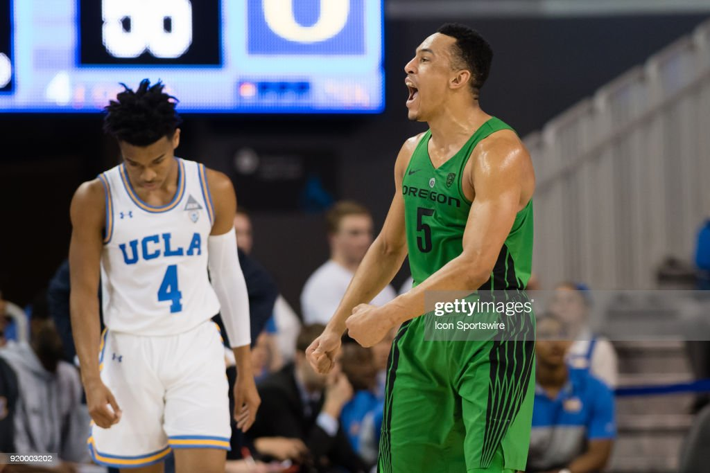 Oregon Ducks guard Elijah Brown (5) reacts after a play during the game between the Oregon Ducks and the UCLA Bruins on February 17, 2018, at Pauley Pavilion in Los Angeles, CA.
