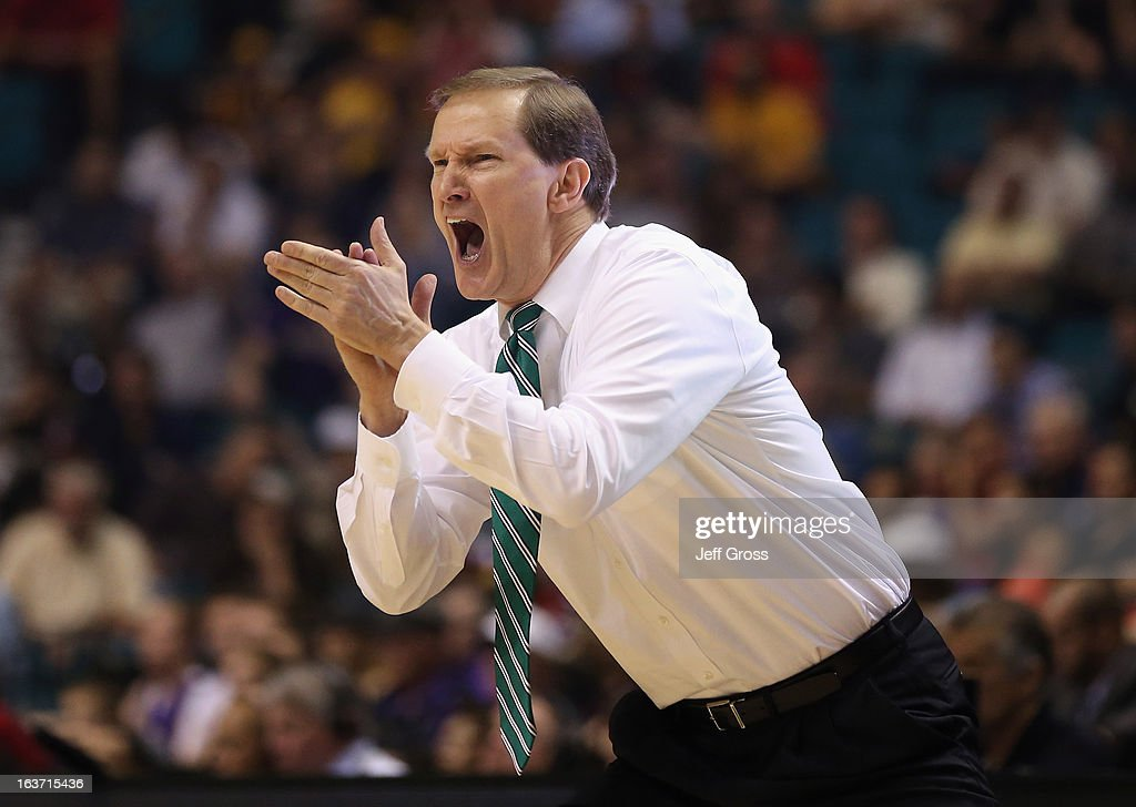 Oregon Ducks head coach Dana Altman yells out to his team in the first half against the Washington Huskies during the quarterfinals of the Pac 12 Basketball Tournament at the MGM Grand Garden Arena on March 14, 2013 in Las Vegas, Nevada.