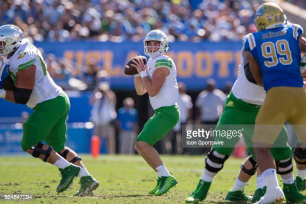 Oregon Ducks quarterback Braxton Burmeister drops back to pass during the game between the Oregon Ducks and the UCLA Bruins on October 21 at Rose...