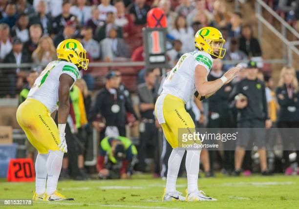 Oregon Ducks Quarterback Braxton Burmeister gets set to have the ball snapped to him during the regular season game between the Stanford Cardinal and...