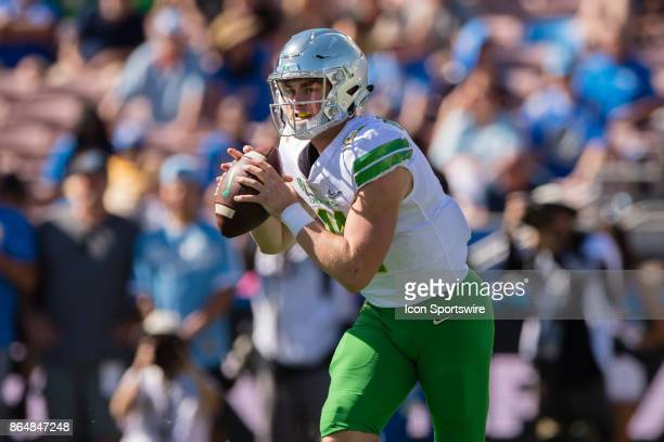 Oregon Ducks quarterback Braxton Burmeister rolls out of the pocket during the game between the Oregon Ducks and the UCLA Bruins on October 21 at...